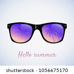 sunglasses with palms... | Shutterstock .eps vector #1056675170