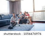 happy family. father  mother... | Shutterstock . vector #1056676976