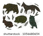 animal artistic silhouettes | Shutterstock .eps vector #1056680654