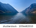 mountain landscape with blue... | Shutterstock . vector #1056682010