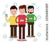 people characters smartphone   Shutterstock .eps vector #1056684389