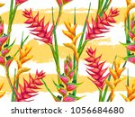 summer jungle pattern with... | Shutterstock .eps vector #1056684680