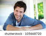 closeup of attractive young man ... | Shutterstock . vector #105668720