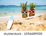 couple of attractive pineapples ...   Shutterstock . vector #1056689030