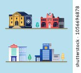 set of buildings. bank ... | Shutterstock .eps vector #1056696878