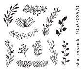 vector set of handdrawn doodle... | Shutterstock .eps vector #1056703970