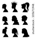 fashion girls silhouettes with... | Shutterstock . vector #105671948
