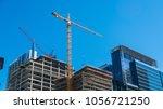 perfect blue sky cranes... | Shutterstock . vector #1056721250
