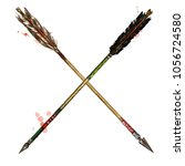 indian arrows. watercolor... | Shutterstock . vector #1056724580