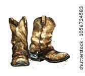 pair of cowboy boots.... | Shutterstock . vector #1056724583