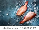 whole raw organic fish sea... | Shutterstock . vector #1056729149