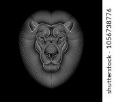Stock vector engraving of stylized lion on black background linear drawing 1056738776