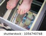 step digital foot scan ... | Shutterstock . vector #1056740768