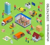 isometric logistics and... | Shutterstock .eps vector #1056743780