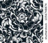 vector black and white flower... | Shutterstock .eps vector #1056748874