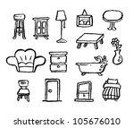doodle series   furniture | Shutterstock .eps vector #105676010