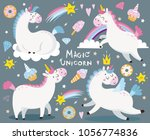 set with funny unicorns.... | Shutterstock .eps vector #1056774836