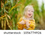 Small photo of Adorable girl playing in a corn field on beautiful autumn day. Pretty child holding a cob of corn. Harvesting with kids. Autumn activities for children.