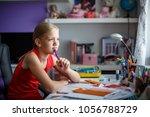 portrait of cute schoolgirl... | Shutterstock . vector #1056788729