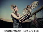 Beautiful Lady With Eagle
