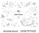 grilled chicken  meat  barbecue ... | Shutterstock .eps vector #1056797420