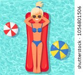 pretty woman swims  tanning on... | Shutterstock .eps vector #1056801506