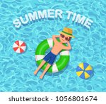 man swims  tanning on life buoy ... | Shutterstock .eps vector #1056801674