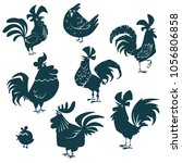 chicken  hen  roosters set.... | Shutterstock . vector #1056806858