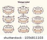 vector set vintage labels and... | Shutterstock .eps vector #1056811103