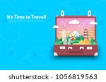 it s time to travel.trip to... | Shutterstock .eps vector #1056819563