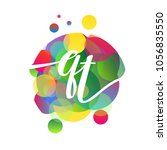 letter qt logo with colorful... | Shutterstock .eps vector #1056835550