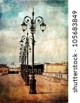 a number of antique lamp posts... | Shutterstock . vector #105683849