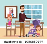 best father in the dining room... | Shutterstock .eps vector #1056850199