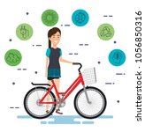 woman in bicycle with eco... | Shutterstock .eps vector #1056850316