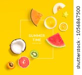 creative layout made of summer... | Shutterstock . vector #1056867500