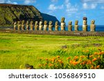 the ancient moai of ahu... | Shutterstock . vector #1056869510