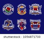 set of football sport logo on...