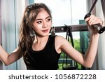 young sporty woman girl working ...   Shutterstock . vector #1056872228