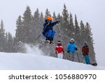 boy skiing in the snow in aspen ...   Shutterstock . vector #1056880970