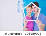 happy young couple paint in...   Shutterstock . vector #105689078