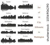 set of 10 city silhouette in... | Shutterstock .eps vector #1056906290