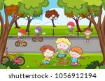 many children playing in the... | Shutterstock .eps vector #1056912194
