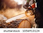 Small photo of Chainsaw in move cutting wood. Man cut with saw. Dust and movements.