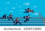 businessmen race flying with... | Shutterstock .eps vector #1056913880