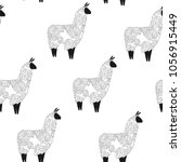 seamless pattern with lama.... | Shutterstock .eps vector #1056915449