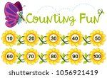 butterfly counting number on... | Shutterstock .eps vector #1056921419