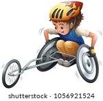 boy on racing wheelchair...   Shutterstock .eps vector #1056921524