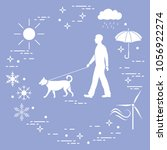 man walking a dog on a leash in ... | Shutterstock .eps vector #1056922274