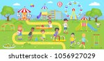 happy kids spend time on... | Shutterstock .eps vector #1056927029