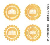 royal golden stamps with... | Shutterstock .eps vector #1056927098